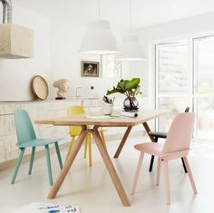 Liking the chairs in different colours... Split Table, Studio Lamp & Nerd Chair from Muuto