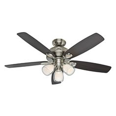 Hunter Meridale 52-in Brushed Nickel Downrod or Flush Mount Ceiling Fan with Light Kit