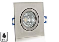Feuchtraum LED Einbaustrahler Set IP44 Aluminium eisengebürstet eckig mit Marken GU10 LED Spot LC Light 5 Watt 9 SMD