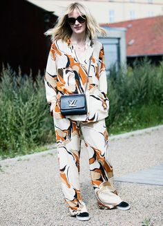 Pajama dressing was a key trend both on and off the runways at CPHFW. Here blogger Marie Hindkaer-Wolthers of Blame It On Fashion does the idea justice in a printed two-piece from By Malene Birger.