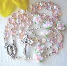 Pink Hearts First Communion Rosary