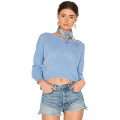 CHARLI Caya Cashmere Sweater ($185) ❤ liked on Polyvore featuring tops, sweaters, sweaters & knits, pure cashmere sweaters, blue cashmere sweater, cashmere top, blue top and blue sweater