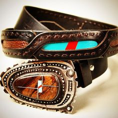 Custom buckstitched belt with antique sterling silver Navajo buckle. Genuine wood, turquoise and coral accents. #leather #leathergoods #turquoise #coral #belt #buckle #navajo #nativeamerican  #ndn #n8ive #antique #vintage #buckstitch #madebyhand #madeinamerica #silver #sterlingsilver #925