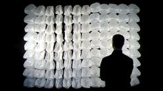 One Hundred and Eight is an interactive wall-mounted installation by Nils Völker mainly made out of ordinary garbage bags. Controlled by a microcontroller each of them is selectively inflated and deflated in turn by two cooling fans. Installation Interactive, Interactive Walls, Artistic Installation, Interactive Design, Interactive Architecture, Wall Installation, Impression 3d, Systems Art, Trash Art