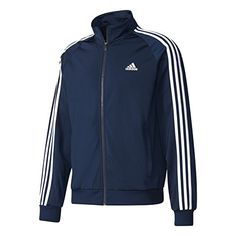 Adidas Men's Essentials Tricot Track Jacket (Collegiate Navy/White, Size XX Large) - Men's Athletic Apparel, Men's Athletic Performance To. Sneakers Adidas, Knit Fashion, Mens Fashion, Wind Jacket, Mens Essentials, Adidas Performance, Green Jacket, Jackets Online, Athletic Wear