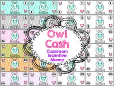 Owl Cash: Classroom Money Incentives  Use this Owl Cash to motivate you students and teach them about money at the same time.  This bundle comes with dollars amounts: $1, $5, $10, $20, $50, $100  Each amount has it's own page with 6 of each on a page. Choose to use what you want or use them all!  It comes in both chevron print backgrounds and white background for those who want to save ink.  Follow me on TPT for fun and exciting products and FREEBIES!!