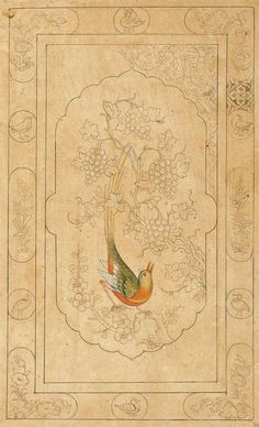 A Bird in Foliage. N. India, 19th century. Ink and transparent pigments on buff paper, a design for or taken from a book binding, a colourful bird seats on a prunus branch, looking up to grapes, with floral borders arranged between rounded medallions with birds. Sold in 2014 for £188.