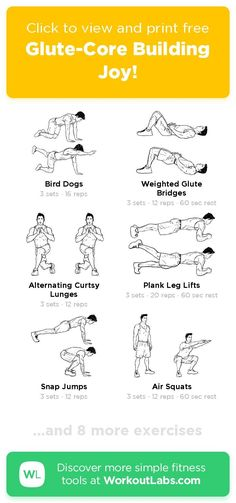Free workout: Glute-Core Building Joy! – 34-min glutes & hip flexors, abs, back, legs exercise routine. Try it now or download as a printable PDF! Browse more training plans and create your own exercise programs with #WorkoutLabsFit · #Glutes&HipFlexorsWorkout #AbsWorkout #BackWorkout #LegsWorkout Don't need to go to the gym, just use your bodyweight and take a few minutes a day, 30 Day Weight Loss Challenge will greatly help to get a perfect bikini body! Ab Day Workout, Leg Day Workouts, Free Workout, Ab Workout At Home, Workout Ideas, Training Plan, Weight Training, Dog Weight, Weight Loss