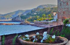 """""""Chateau de La Napoule"""" A spectacular castle in the French Riviera! Hey this is the town that I lived in! I went to this charming little château many times, had lunch once at their tiny restaurant -- mum and I enjoying our meal overlooking the sea."""
