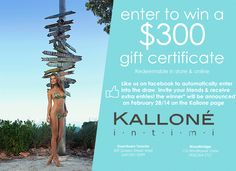 Kalloné Intimi is giving away a $300 Kalloné gift card that can be put towards any purchase in-store or online at www.kallone.ca. Just 'like' the Kalloné Facebook page to be entered into the draw. Be sure to refer your friends for additional entries! Good luck!