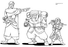 Human, dwarf, gnome nomads, Arab warrior, porter and female rogue with crossbow, made for fantasy dungeons and dragons campaign.