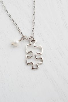 Puzzle Piece Charm Necklace,Wedding Bridesmaid Necklace,Puzzle Symbol,Missing Puzzle Piece,Autism,BFF Friendship Necklace,Fad Modern,Minimalist Necklace,Silver Skeleton Puzzle Piece Charm