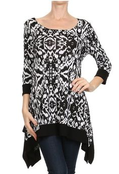 1485940bd6e Another great find on Black   White Ikat Sidetail Tunic