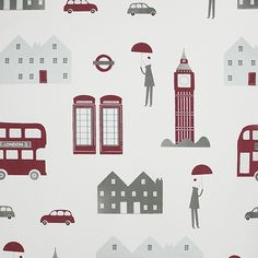 London Wallpaper A children's wallpaper featuring stylised iconic images of London including Big Ben, routemaster buses, matchstick people and cars. Printed in silver and red on a white background with subtle small gold polka dots.