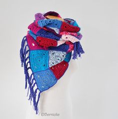 Crochet shawl granny squares with fringe bohemian Q588
