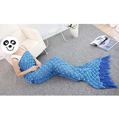 """URSKY Crochet Knitted Sofa Living Room Mermaid Tail Blanket, Cozy and Soft All Season Mermaid Tail Pattern Throw Sleeping Bag For Adult, Teens and Child ,71""""x27.6""""Long Tail Blue - $27.99"""