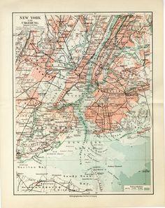 Alte Karte von New York City Vereinigte von AntiquePrintBoutique