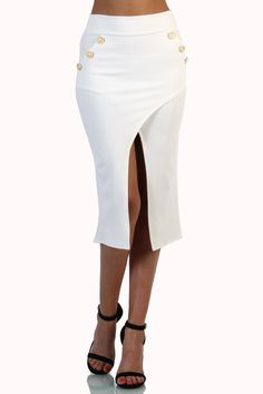Side Button Open Front Pencil Skirt - White