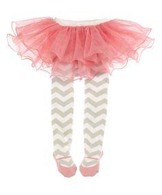 Loving this Gray & Pink Chevron Tutu Tights on #zulily! #zulilyfinds