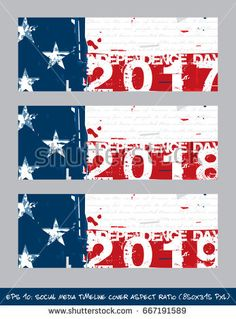 6ed2d540579 American Flag Independence Day Social Media timeline cover - Artistic Brush  Strokes and Splashes. The gray text writes the first verse from the  Declaration ...