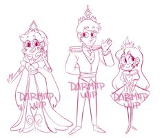 sketch of the royal family! I started doing some quick sketches of Star Queen and in the end I ended up making the whole family lol Disney Movies, Disney Stuff, Aphmau, Star Butterfly, Starco, Quick Sketch, Star Vs The Forces Of Evil, Force Of Evil, Blue Hair