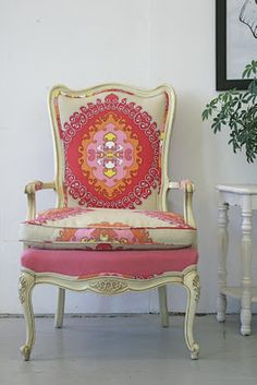 fabric/chair.  trina turk fabric on a beautiful chair.  get inspired to try this yourself.