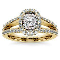 The Halo Split Shank Cushion Diamond Ring in classic Yellow Gold