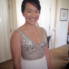 #Tbpic of beaming bride Nikki, with makeup by Jen for @nikavaughanbridalartists.  Such a fun dress and she looks so happy ❤️