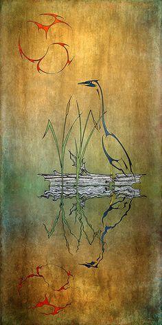 Great Blue Heron Image Processing, Blue Heron, Fine Art, Digital, Drawings, Painting, Painting Art, Paintings, Drawing