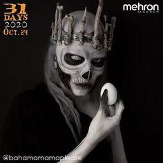 "October 24th finalist @bahamamamaplease Thanks to our friends at @MehronMakeup Artist Inspo: ""The Russian fairy tale character Koshei the Immortal"" Products used: Paradise Makeup AQ and Colorset Powder #mehronmakeup #skullmakeup #creepymakeup #egg #bones #crown #fairytale #charactermakeup #halloweenmakeup #creativemakeup #spookymakeup #darkmakeup Halloween Makeup Looks, Halloween Make Up, Creepy Makeup, Mehron Makeup, Character Makeup, Dark Makeup, Tiaras And Crowns, Professional Makeup, Wands"
