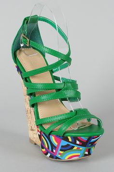 Liliana Peace-10 Printed Platform Strappy Wedge in Green