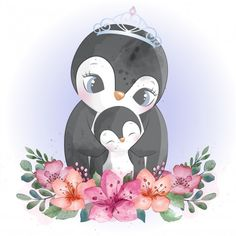 Cute penguin mother and baby Premium Vec. Pinguin Illustration, Cute Animal Illustration, Animal Illustrations, Fantasy Illustration, Digital Illustration, Illustrations Posters, Cute Images, Cute Pictures, Baby Animal Drawings