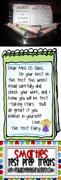 "FREE! Do you have students who get the ""jitters"" during testing? Give kiddos a letter from the Test Fairy along with a treat the Friday before starting the test."