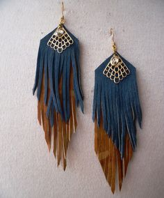 leather fringe earrings- would be fairly easy to DIY                                                                                                                                                                                 More