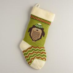 One of my favorite discoveries at WorldMarket.com: Holiday Owl Knit Stocking