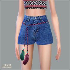 Feather Belt Hot Pants_깃털 벨트 핫팬츠_여자 의상 - SIMS4 marigold