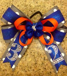 My latest creation - Boutique OTT Hair Bow MTM School Team Colors and numbers on Etsy, $14.00
