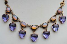 Vintage Art Deco Czech Glass Alexandrite Heart Pink Glass Fire Opal Necklace