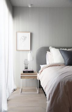 x The Cullin Design Curved bedhead, Felt with White Leather Piping – Furniture – einrichtungsideen wohnzimmer Feature Wall Bedroom, Small Room Bedroom, Home Bedroom, Bedroom Wall, Master Bedroom, Bedroom Decor, Bedroom Inspo, Bedhead Design, Donia