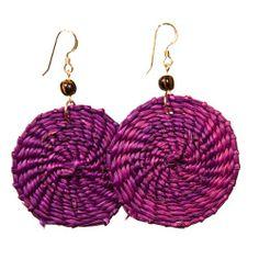 Purple Earrings - Iraca Fiber by Randall V Designs Statement Earrings, Drop Earrings, Newspaper Basket, Purple Earrings, Basket Weaving, Bracelets, Stuff To Buy, Closet, Diy