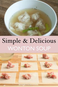 This is one of the simplest and easiest wonton soup recipes ever. This is tried and true with just a handful of ingredients that you probably already have in your cupboard. Wonton Recipes, Pork Recipes, Gourmet Recipes, Asian Recipes, Dinner Recipes, Cooking Recipes, Healthy Recipes, Fall Recipes, Pork Soup