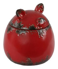 Red Pig Ceramic Jar by Privilege