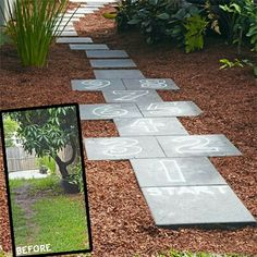 Backyard idea. Hopscotch garden path