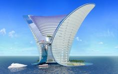 Hotel Dubai - An amazing architecture design, with a beautiful waterfront, and a yacht view on the ocean blue water. Unusual Buildings, Interesting Buildings, Amazing Buildings, Modern Buildings, Dubai Buildings, Architecture Unique, Futuristic Architecture, Hotel Architecture, Futuristic Houses