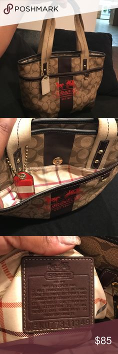 Authentic Coach Purse🎉🎉 Great Condition Authentic Coach Purse that will need cleaning on the inside fabric. Comes without dust bag and can be yours for the right offer🎉🎉 It goes have a middle Zipper along with two magnetic clips on the outside pockets🎉🎉 Coach Bags