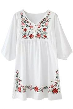 Embroidery Floral Loose Dress OASAP.com