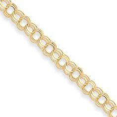 14k Triple Link Charm Bracelet - 7 Inch - Box Clasp - JewelryWeb JewelryWeb. $1008.90