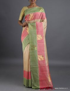 Jotsana Golden Parrots of Passion #LinenSilkSaree