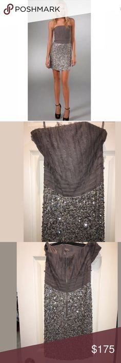 Alice Olivia Sequin Silver Dress 2 Stunning Alice and Olivia sequin dress. The top part of the dress is structured yet the fabric is soft and almost whimsical. The bottom part is all sequins, exposed zipper in the back. Size 2, this brand runs small. Great condition. Please let me know if you have any questions. Check out my other listings! Alice + Olivia Dresses