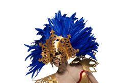 Gold and Cobalt Blue Masquerade Goddess Mask by skrocki on Etsy Halloween Masquerade, Halloween Masks, Feather Mask, Larp, Cobalt Blue, Venetian, Theatre, Metal, Gold